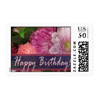 Colorful flower Happy Birthday postage stamp