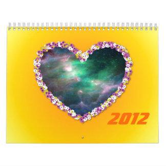 Colorful flower heart & Nebula Calendar