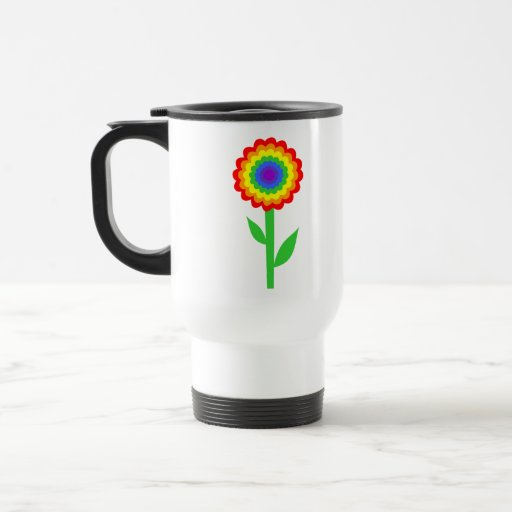 Colorful flower in rainbow colors. 15 oz stainless steel travel mug
