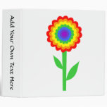 Colorful flower in rainbow colors. 3 ring binder