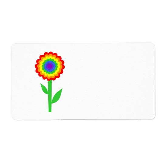Colorful flower in rainbow colors. label