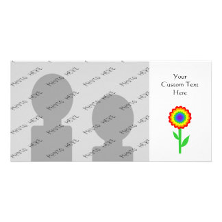 Colorful flower in rainbow colors. photo card
