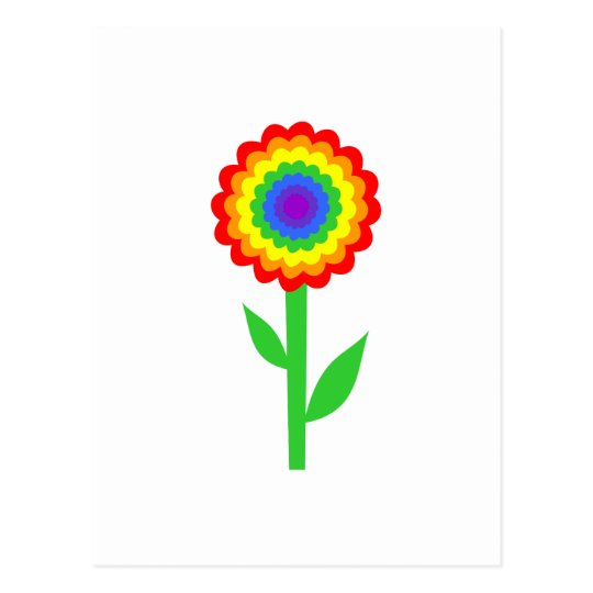 Colorful flower in rainbow colors. postcard