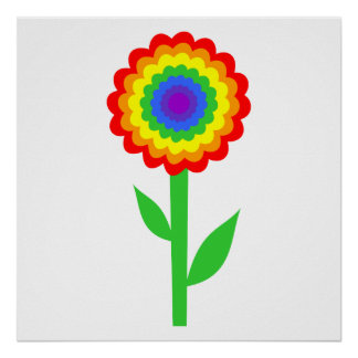Colorful flower in rainbow colors. print