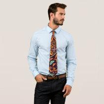 Colorful Flower Mandala Neck Tie #D9