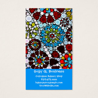 Colorful Flower Mosaic Circles Bubbles Design Business Card