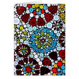 Colorful Flower Mosaic Circles Bubbles Design Greeting Card