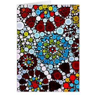 Colorful Flower Mosaic Circles Bubbles Design Card