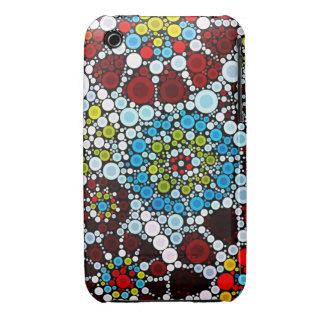 Colorful Flower Mosaic Circles Bubbles Design Case-Mate iPhone 3 Cases
