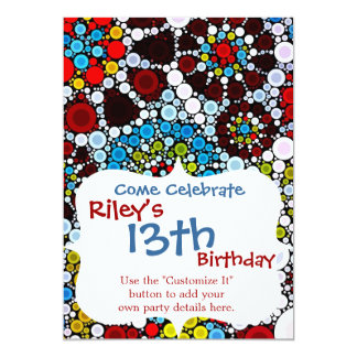 Colorful Flower Mosaic Circles Bubbles Design 5x7 Paper Invitation Card