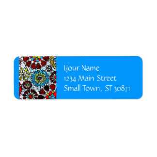 Colorful Flower Mosaic Circles Bubbles Design Label