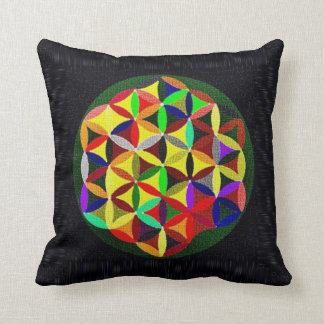 Colorful Flower Of Life Design Throw Pillow