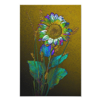 Colorful Flower on Yellow Poster