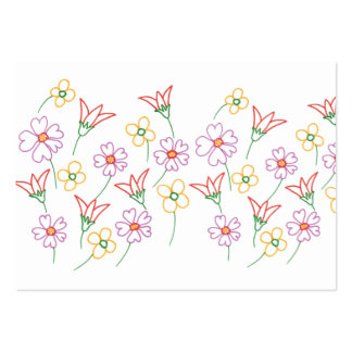 Colorful Flower Outlines Coloring Business Cards