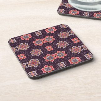 Colorful Flower Pattern on Dark Purple Beverage Coaster