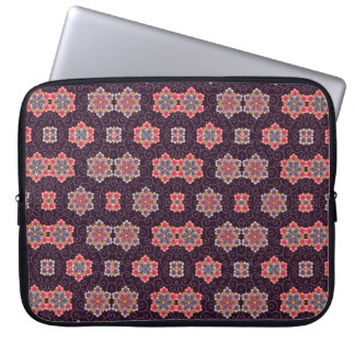 Colorful Flower Pattern on Dark Purple Laptop Sleeve