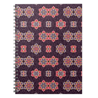 Colorful Flower Pattern on Dark Purple Notebook