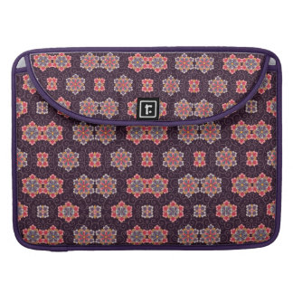 Colorful Flower Pattern on Dark Purple Sleeve For MacBooks