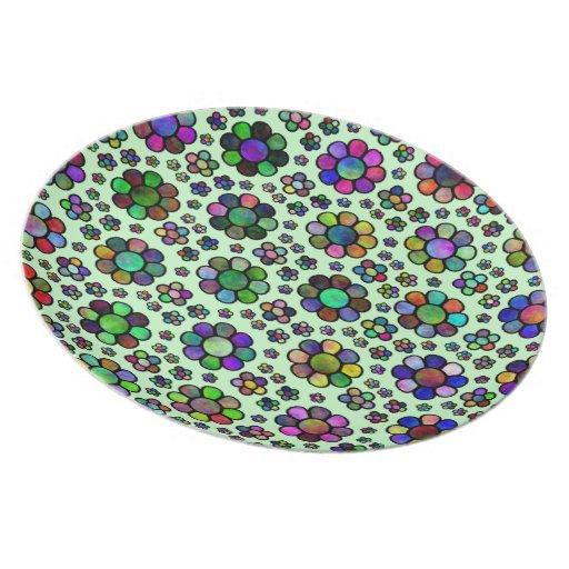 colorful flower pattern tie dye dinner plate zazzle