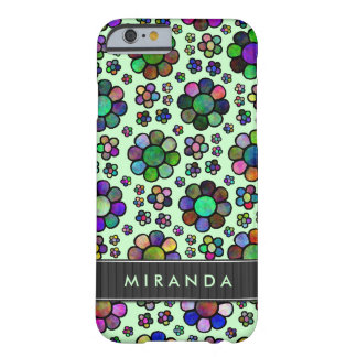 Colorful Flower Pattern Tie-Dye Green Personalized Barely There iPhone 6 Case