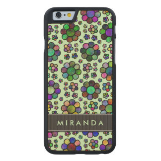 Colorful Flower Pattern Tie-Dye Green Personalized Carved® Maple iPhone 6 Case