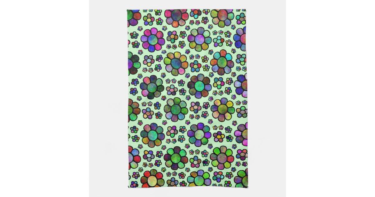colorful flower pattern tie dye towels zazzle