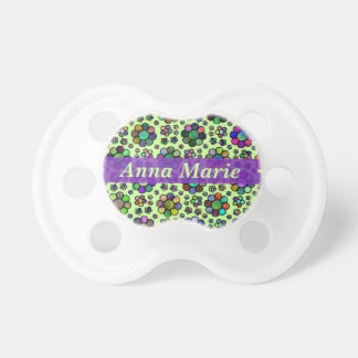 Colorful Flower Pattern Tie Dye Personalized Green Baby Pacifier