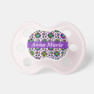 Colorful Flower Pattern Tie Dye Personalized Pink Baby Pacifiers