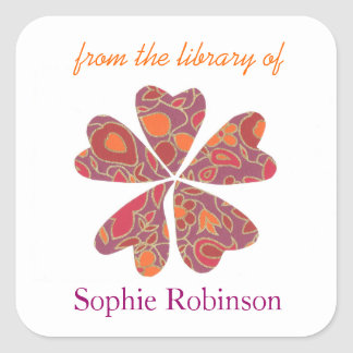 Colorful flower personalized bookplates
