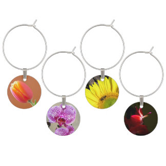Colorful Flower Photographs Wine Glass Charm
