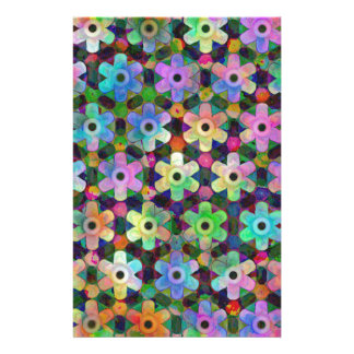 Colorful Flower Pinwheel Pattern Stationery