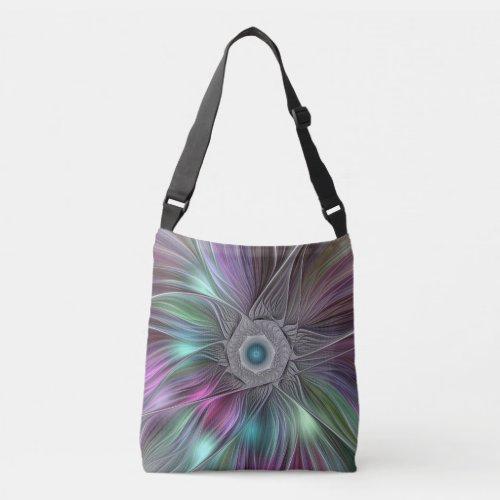 Colorful Flower Power Abstract Modern Fractal Art Crossbody Bag