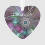Colorful Flower Power Abstract Modern Fractal Art Ornament