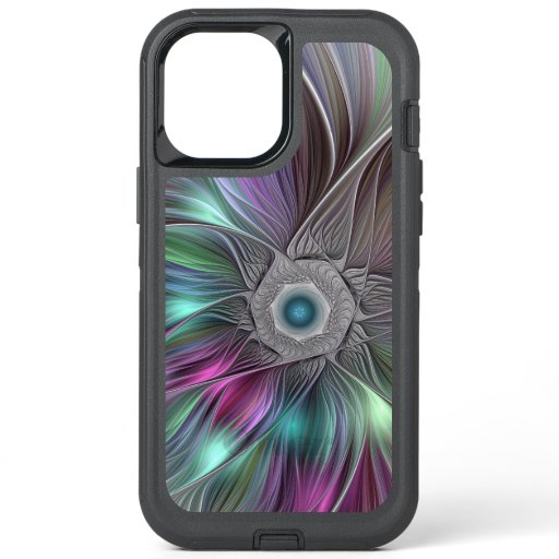 Colorful Flower Power Abstract Modern Fractal Art OtterBox Defender iPhone 12 Pro Max Case