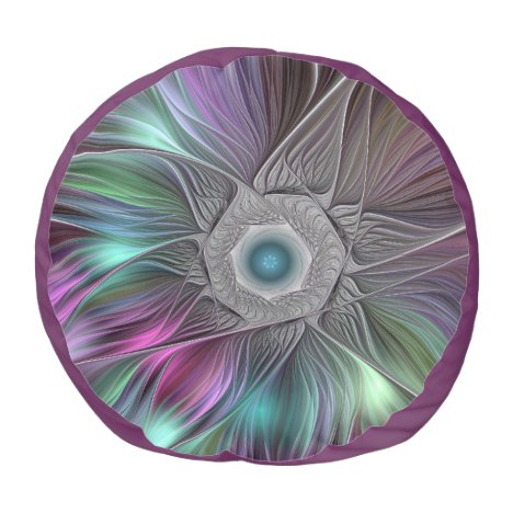 Colorful Flower Power Abstract Modern Fractal Art Pouf