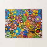 Colorful flower power jigsaw puzzles