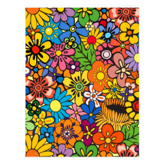 Colorful flower power postcard