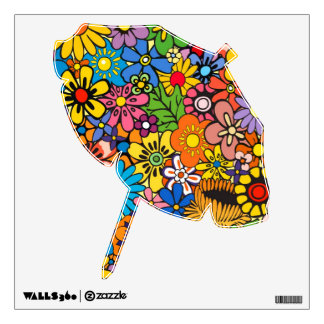 Colorful flower power wall sticker