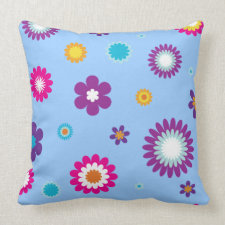 Colorful Flower Print Throw Pillows