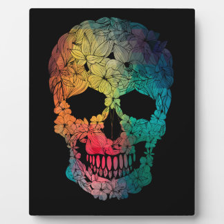 Colorful Flower Skull Photo Plaques
