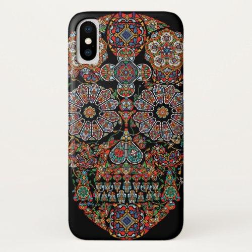 Colorful Flower Sugar Skull iPhone X Case Phone Case