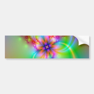 Colorful Flower With Ribbons Car Bumper Sticker