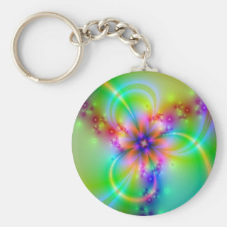 Colorful Flower With Ribbons Keychain