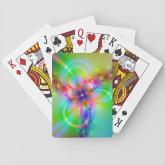 Colorful Flower With Ribbons Poker Cards