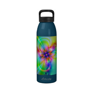 Colorful Flower With Ribbons Reusable Water Bottle