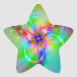 Colorful Flower With Ribbons Star Sticker