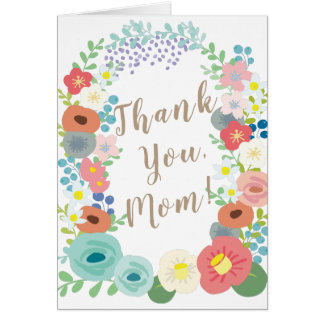 Colorful Flower Wreath Mother's Day Card
