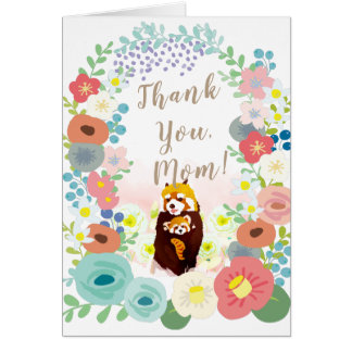 Colorful Flower Wreath Red Panda Mother's Day Card