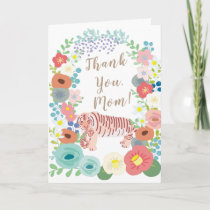 Colorful Flower Wreath Tiger Mother's Day Card