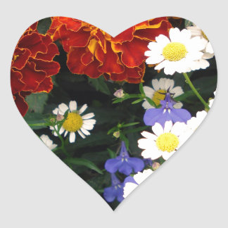 Colorful Flowerbed Heart Sticker